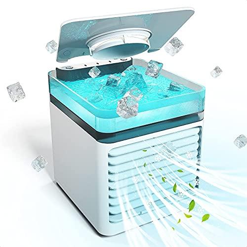 YANRU Ventilador Hielo - 7 Luces De Colores Mini Aire Acondicionado para Coche, Bajo Consumo De EnergíA Climatizador Portatil - para Cualquier HabitacióN, Oficina, Viajes, Camping