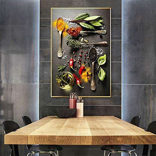 Naturaleza muerta, condimento, arte de pared, pintura, lienzo de cocina, impresión de imagen para sala de estar, decoración del hogar, sin marco 40x50cm