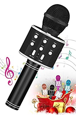 SEATANK Bluetooth Karaoke Wireless Microphone for Kids Toys, Wireless Portable Karaoke Machine, Handheld Mic Speaker Christmas Birthday Party for Kids Gifts Android/iPhone Compatible (858 Black)