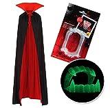 Vampiro Cuello Alto Capa Manto Negro Rojo y Colmillos para Adultos Halloween Dracula Disfraz 170cm