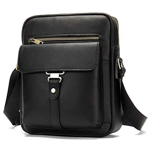 BAIGIO Bolso Bandolera Hombre de Cuero Bolso de Hombro Piel Pequeño Vintage Crossbody Bag Casual (Negro-2)