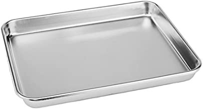 Neeshow 10''x8''x1'' Stainless Steel Toaster Oven Pan Tray Ovenware Professional, Heavy Duty & Healthy, Deep Edge, Superior Mirror Finish, Dishwasher Safe