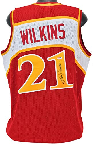 Dominique Wilkins Signed Red Pro Style Jersey Autographed PSA/DNA Itp - Autographed NBA Jerseys