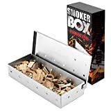 BBQ Smoker Box for Chips And Wood, Top Meat Smoke Box in Barbecue Grilling Accessories,Universal Stainless Steel Smoker Box for Meat Smoking,Add Smokey BBQ Flavor on Gas Grill or Charcoal Grills