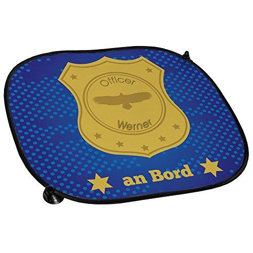 Auto-Sonnenschutz mit Namen Werner und schönem Officer-Motiv für Jungs - Auto-Blendschutz - Sonnenblende - Sichtschutz