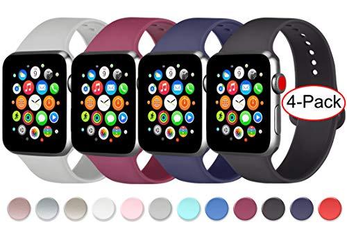 AK 4 Pezzi Cinturino para Apple Watch Cinturini 44 mm 38 mm 42 mm 40 mm, Cinturino in Silicone Morbido con Apple Watch Series 5 4 3 2 1 (04Nero/Navy/Vino Rosso/Grigio, 42mm/44mm-M/L)