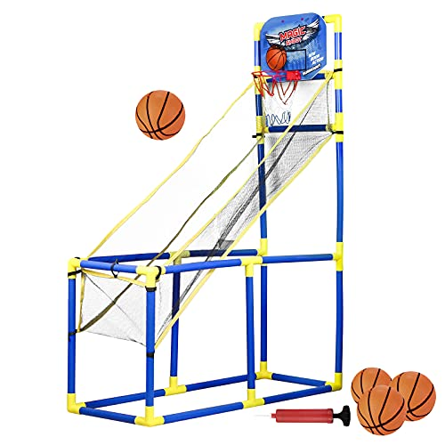 LUYE Arcade Basketball Hoop for Kids Indoor Arcade Game Portable Basketball Hoop Games 4 Balls Basketball Sets for Toddlers 47.2 Inch Tall, Lightweight, Outdoor Arcade Basketball Game