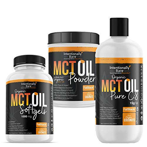Intentionally Bare MCT Oil Bundle – Organic – High C8 Caprylic Acid - Home and Away - Appetite Suppressant, Metabolism Boosting, Helps with Intermittent Fasting and Ketosis 1