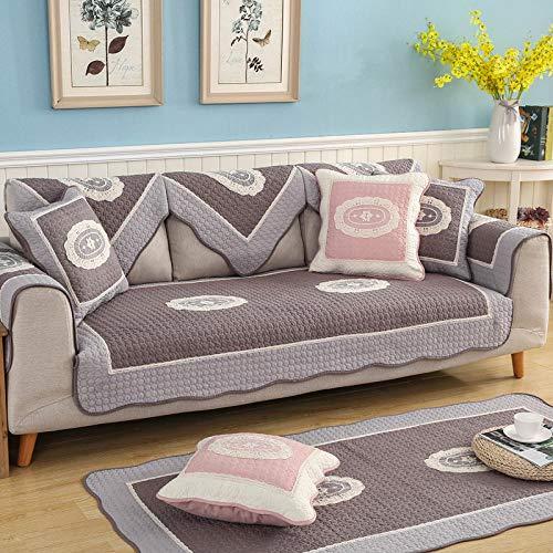 Homeen Sillón/fundas de cama de día, protector de sofá de sala de estar, fundas de sofá de algodón, funda de sofá acolchada suave, cubierta bordada de 2/3/4 plazas-café_90*180cm