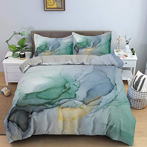 Nordic Modern Home Textiles Bedding Set Ocean Abstract Marble Pattern Green Duvet Cover Queen King Size Soft Comforter Set Double Single The Comfy for Girl Boy Teens Adult,Twin