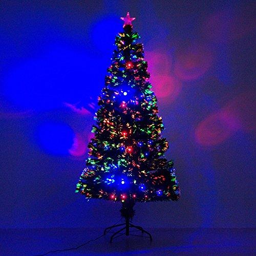 HOMCOM 6' Artificial Holiday Pre-Lit Fiber Optic/LED Light-Up Christmas Tree with 8 Light Settings and Stand