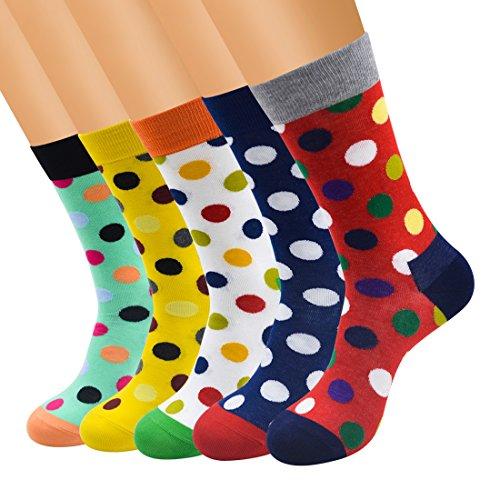 FULIER Mens 5 pack Cotton Rich Smart Design Colourful Comfortable Dress Calf Socks UK 6 13 EUR 39 47 DotSize One Size