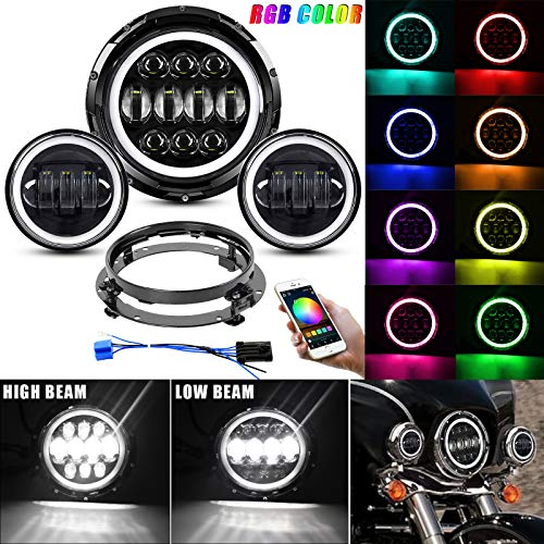 """EBESTauto Motorcycle 7"""" LED Headlight 4.5Fog Passing Lights Kit with Cell Phone Bluetooth Controlled RGB Angel Eye for Road King, Road Glide, Street Glide, Electra Glide with Bracket and Wire Adapter"""