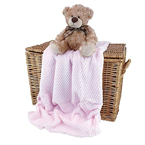 Crumbleberry - Manta de bebé para niña, diseño de gofres supersuave, color rosa