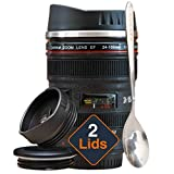 STRATA CUPS Camera Lens Coffee Mug -13.5oz, SUPER BUNDLE! (2 LIDS + SPOON) Stainless Steel Thermos, Sealed & Retractable Lids! Photographer Camera Mug, Travel Coffee Cup, Coffee Mugs for Men, Women