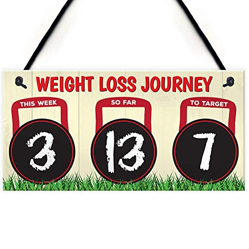 Meijiafei Weight Loss Journey Diet Tracker Chalkboard Hanging Plaque Slimming World Gift Sign 10' X 5'