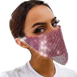 Pink Sparkly Rhinestone Masquerade Ball Mesh Face Mask