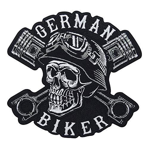 German Biker Totenkopf Patch zum Aufbügeln für Lederwesten | Motorrad Kutte Patches, Hunde Bügelflicken, Motorradjacke Flicken, Motorcycle Aufnäher für Männer Finally Home