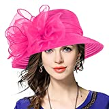 VECRY Lady Derby Dress Church Cloche Hat Bow Bucket Wedding Bowler Hats (Rose)