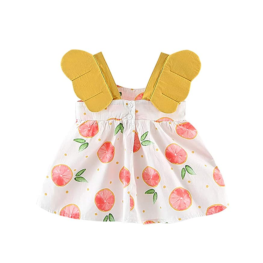 Toddler Kids Baby Girls Sveless Cherry Princess Flower Dresses Bow Hat Outfits Party Dress 6M-24M