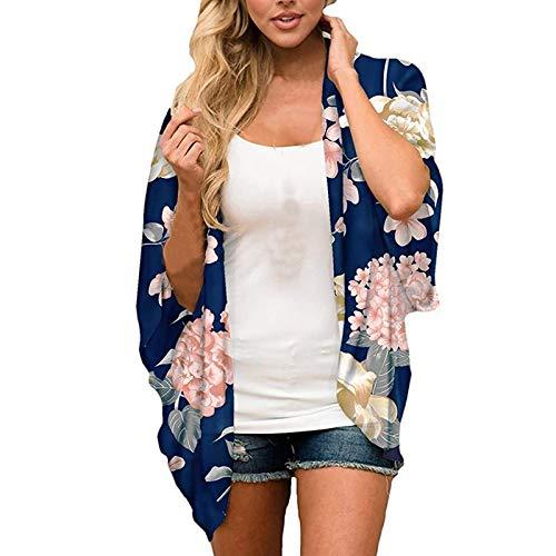 Chiffon Beach Kimono Cardigan Largo Tops Estampados Blusa Chal Tops Outwear Mujeres,Accesorios de Traje de Baño de Verano