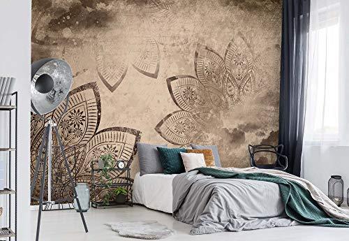 Mandala Wolken Himmel Sepia Vlies Fototapete Fotomural - Wandbild - Tapete - 368cm x 254cm / 4 Teilig - Gedrückt auf 130gsm Vlies - 2571V8 - Himmel & Wolken