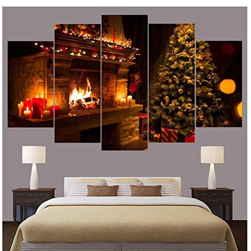 XXSCZ 5 Canvas Schilderijen Frame Kunst Poster Muurschildering Home Decor 5 Panel Kerstboom Gedrukt Op Doek voor Woonkamer Moderne Afdrukken Type 30x40 30x60 30x80cm Met Frame