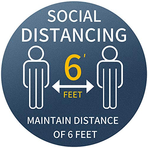 Social Distancing 6 Feet Floor Sign Sticker 12' Anti-Slip Stand Here Floor Decal Waterproof Reusable 6 FT Distance Safety Sign Commercial Grade Sign Made for All Public Places 10 Pack