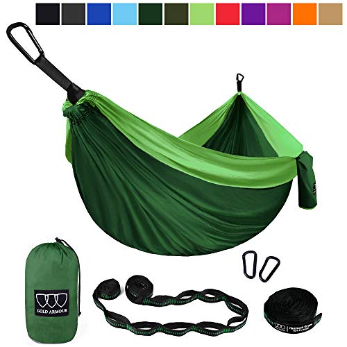 Gold Armour Camping Hammock - Extra Large Double Parachute Hammock (2 Tree Straps 32 Loops,20 ft Included) USA Brand Lightweight Nylon Adults Kids, Camping Accessories Gear (Green with Bug Net)
