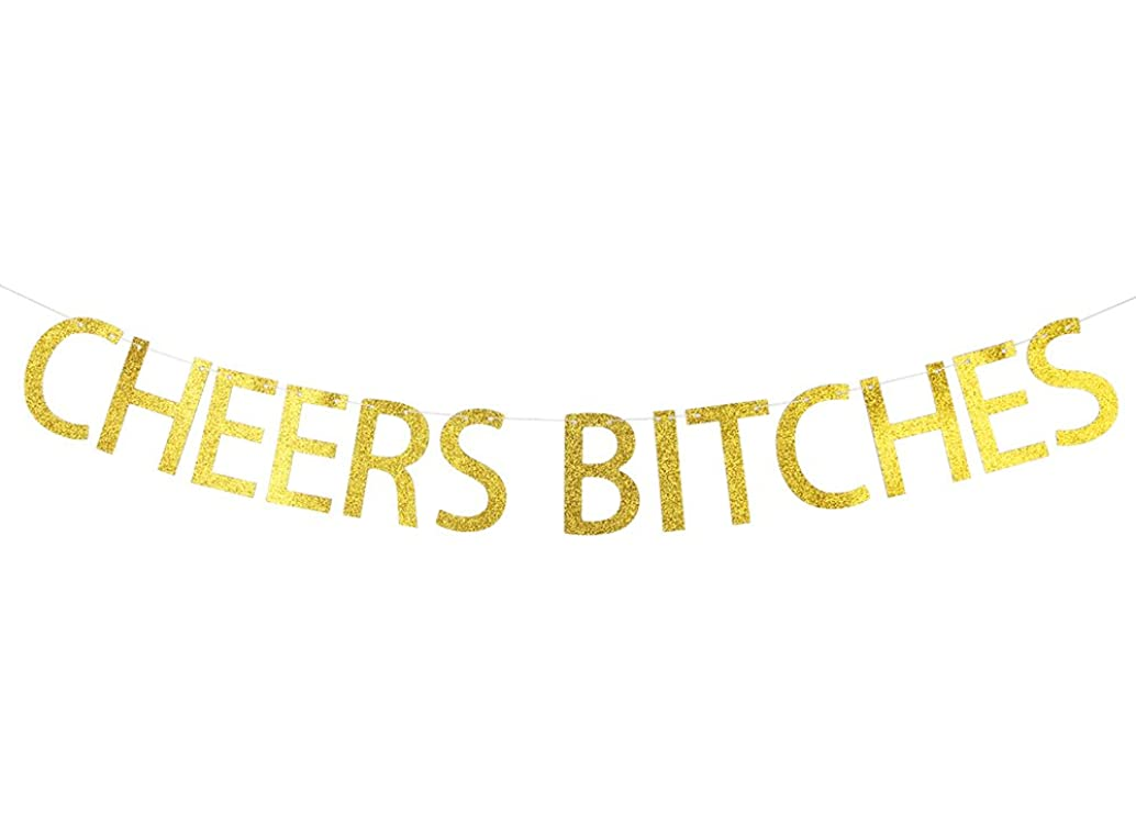 Cheers Bitches Banner Gold Glitter Bachelorette Engagement Bridal Shower Birthday Party Décor