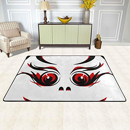 Area Rugs for Living Room Indoor Dining Accent Modern Home Décor 72 X 48 Inch Floor Carpets for Dining Room College Dorm and Nursery Vampire Fangs Black Red (21) Area Rugs