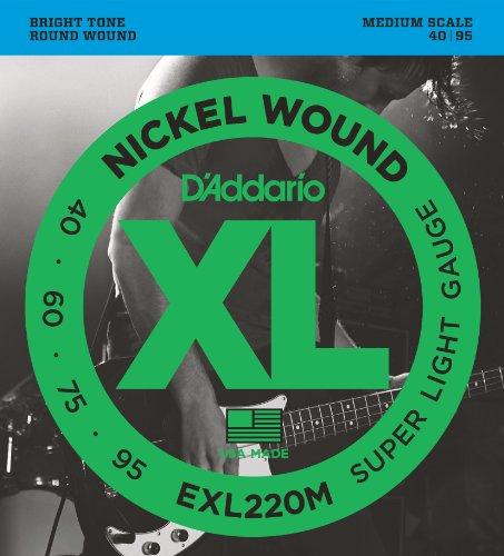 D'Addario EXL220M - Juego de cuerdas para bajo eléctrico de níquel, 040 - .095