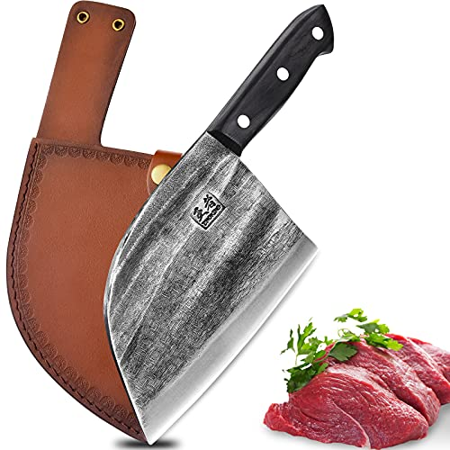 ENOKING Serbian Chef Knife Meat Cleaver Forged...