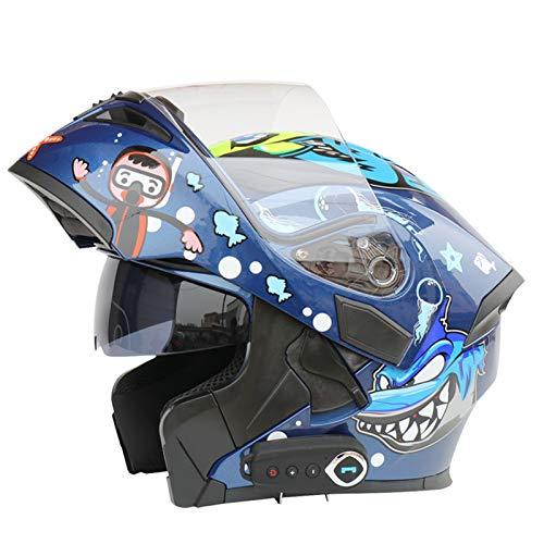 Casco Moto Bluetooth Integrado Con FM, Casco Moto Integral Con Visera Solar Doble, Certificado ECE Casco Moto Modular, Adecuado Para Carreras/Scooters/Motocicletas De Campo Traviesa