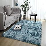 linyingdian Alfombra rectángulo Shaggy para Salón habitación de los Niños Dormitorio - Alfombra Antideslizante Muy Suave, Lavable, Tie-Dye, al Aire Libre Interior. (Azul, 80x160cm)