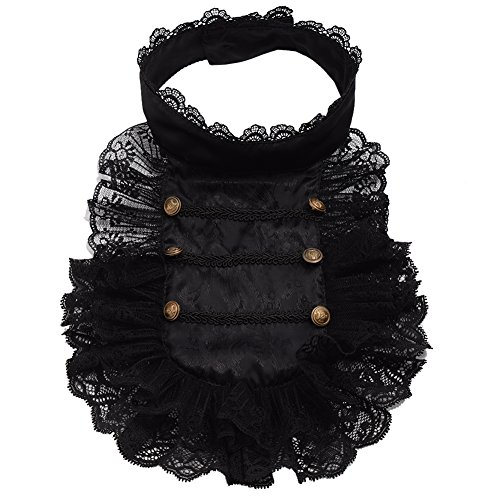 BLESSUME Colonial Lace Jabot Necktie Victorian Steampunk Collar Ruffle Black