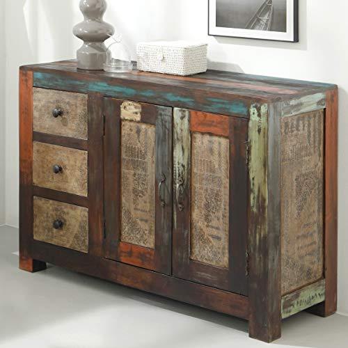 Kommode Sideboard Goa Wohnzimmerschrank Massivholz Mango Vintage Used-Look von Wolf Möbel