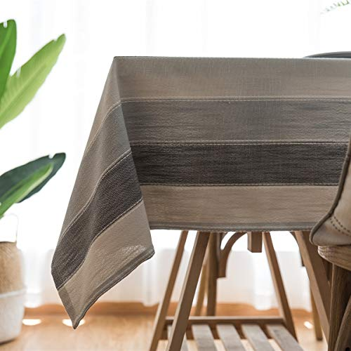 Small Rectangle Spliced Striped Tablecloth Cotton Linen Side Table Cloth Kitchen Living Room Decoration 100x140cm