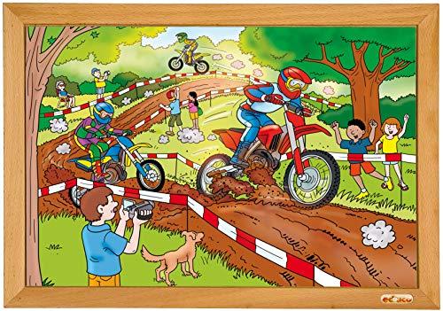 Educo |Kraft Puzzle | Motocross | 24 Puzzleteile |Holzpuzzle 40 x 28 cm.