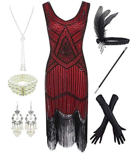 FUNDAISY 1920er Jahre Gatsby Pailletten gefüttert Paisley Flapper Dress Set mit 20er Jahre Zubehör, Rot, L