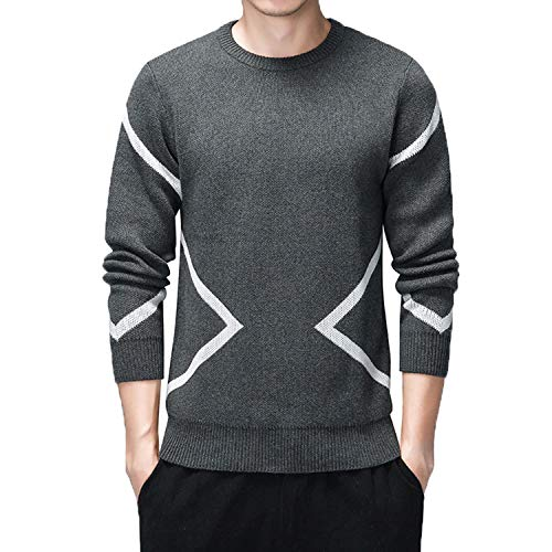 Causal Sweaters Men O-Neck Pullovers Homme Long Sleeve Sweater Dress for Men Warm Kinttwear Plus Size Clothes Grey L