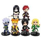 VNNY 6 unids/Set Anime Naruto Figura de acción Modelo de Dibujos Animados muñeca Kakashi Sakura Gaar...