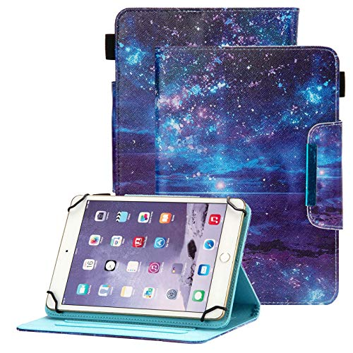 Popbag Universal Case for 7 Inch Tablet - Stand Wallet Fold Cover for Galaxy Tab 7' / Dragon Touch 7' / Fire 7' / Onn 7' / RCA Voyager 7.0 / HDX 7 / Huawei T3 / Lenovo Tab 7 Inch Tablet, Blue Galaxy