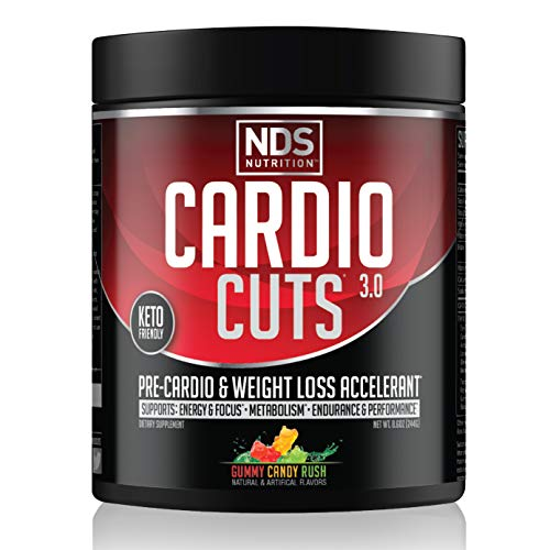 NDS Nutrition Cardio Cuts 3.0 Pre Workout Supplement - Advanced Weight Loss and Pre Cardio Formula with L-Carnitine, CLA, MCTs, L-Glutamine, and Safflower Oil - Gummy Rush (40 Servings)