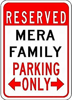 Fieanxi Metal Signs Mera Family Parking - Customized Last Name - 8X12 Tin Sign for Garage