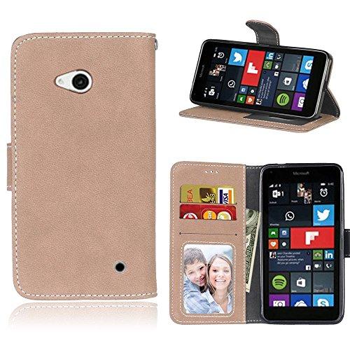 Microsoft Lumia 640 Hülle, SATURCASE Retro Mattiert PU Leder Flip Magnetverschluss Brieftasche Standfunktion Schützend Tasche Schutzhülle Handycover für Nokia/Microsoft Lumia 640 LTE (Beige)