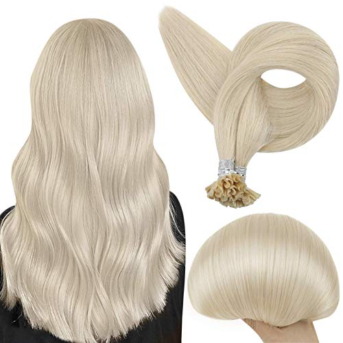 Full Shine Blonde Fusion Tips Human Hair Extension 22 Inch U Tip Human Hair Extension Color 60 Platinum Blonde Real Hair Nail Strand Tips Silk Straight Hair 50 Gram