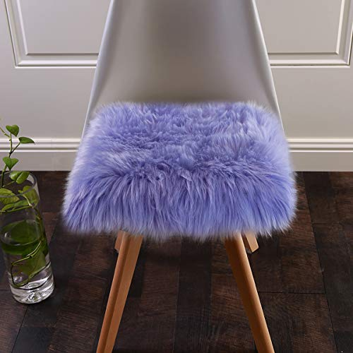 Softlife Faux Fur Sheepskin Area Rug Shaggy Wool Carpet for Bedroom Living Room Home Decor (1.6ft x 1.6ft Square, Lavender)
