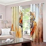 QHDIK Rideau Voilage Moderne Imprimé Tigre Animal Polyester Matériel Tissu Décoration Salon Rideaux Occultants de Fenêtre pour Cuisine Chambre Enfant 2X W75 x H166 cm