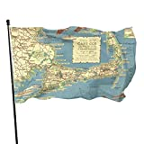 Zordalating Map of Cape Cod Massachusetts 3x5 Foot Flags Outdoor Flag 100% Single-Layer Translucent Polyester 3x5 Ft